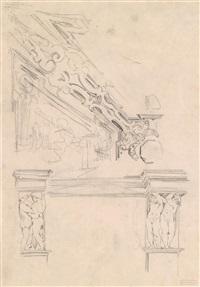 entwurf für eine wanddekoration mit fresken und stuckverzierungen by hans makart