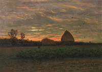 farm at sunrise by charles harold davis