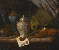 a vanitas still life with a violin, a skull draped with laurel branches, a silver ginger jar, a recorder, a letter with a red seal, a silver gilt hardstone cup and a silver dish, all on a marble ledge by pieter gerritsz van roestraten