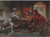 a greenhorn, two men in seventeenth century costume, playing cards by edgar bundy