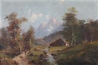 rivière et paysage montagneux by godchaux