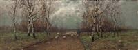 sommerlandschaft mit hirte und schafherde in birkenallee by johann jungblut