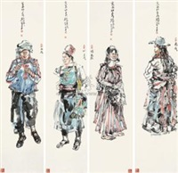 云南印象 (impression of yunan) (4 works) by luo jiang