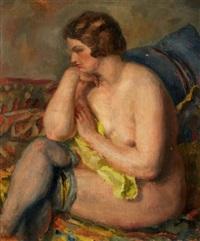 femme nue aux bas by louis adolphe riou