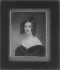 a lady wearing green velvet dress with white underdress, a blue ribbon at her neck, her dark brown hair in ringlets by bernard mulrenin