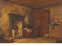 auld jenny, cottage interior near perth (+ auld johnny, pair) by alexander leggatt