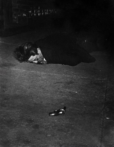 corpse with revolver by weegee