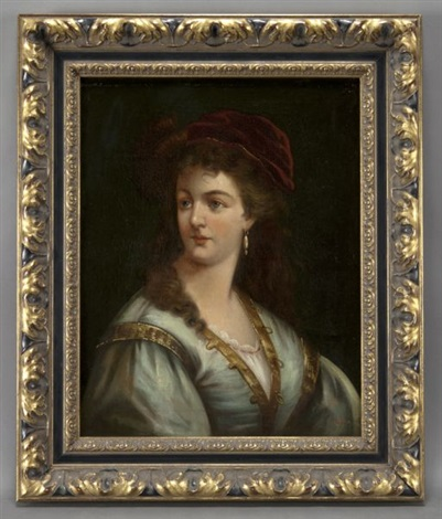 portrait of a lady in a velvet cap by anton ebert