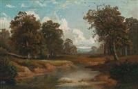 bewaldete landschaft mit einem gewässer by august weber