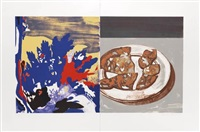 salami with landscape (in 2 parts) by david salle