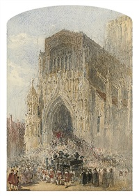 a funeral cortege entering westminster abbey, london (+ another; 2 works) by george haydock dodgson