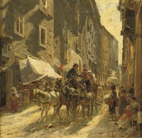 a carriage in a street in rome by franz theodor aerni