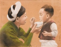 femme nourrissant son petit by huu duyet nguyen