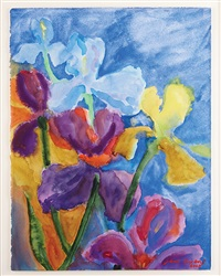 blue and purple irises by jane evans