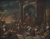 the triumphal entry of charles vii of naples and sicily (later charles iii of spain) into naples, 10 may 1734: a bozzetto by domenico mondo