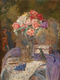 still life with roses in a vase by lea reinhart
