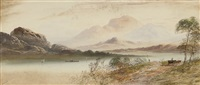 a horse and cart passing along a lake (+ a view of a lake with mountains beyond; pair) by william henry earp
