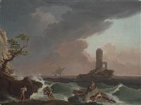 stürmische küstenlandschaft mit schiffswrack und einem leuchtturm by francesco fidanza