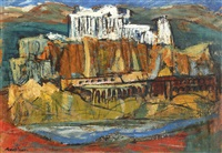 landscape with fortress by marcel janco