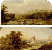 cows watering in a river landscape by henry (sr.) earp