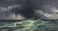 burrasca nell'oceano con barcone da pesca by eugénio amus
