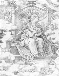 die jungfrau maria auf dem thron by jacob binck