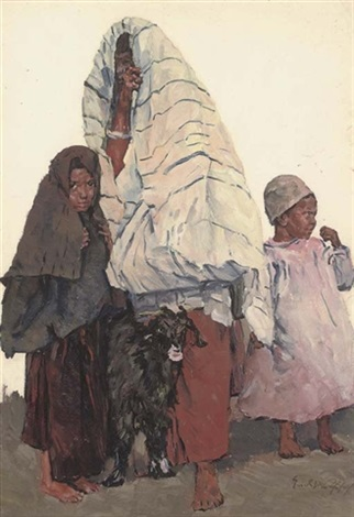 a family with a goat by erich wolfsfeld