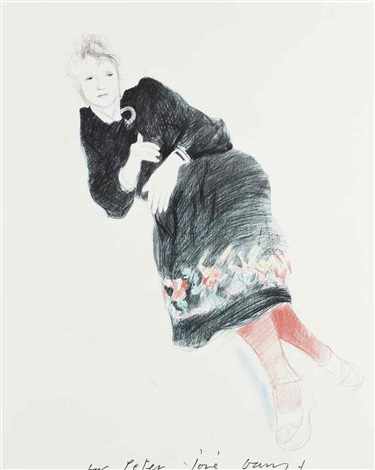 celia in a black dress with a coloured border by david hockney