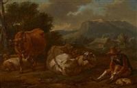 vacher et son troupeau dans un paysage d'italie by johannes van der bent