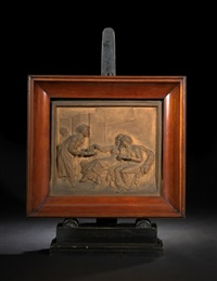 plaque of a serving man offering refreshment to two seated ladies-of-fashion by robrecht jan fabri