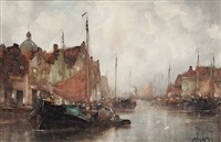 untitled - the fishing village by john ernest aitken