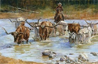longhorn crossing by tom dorr