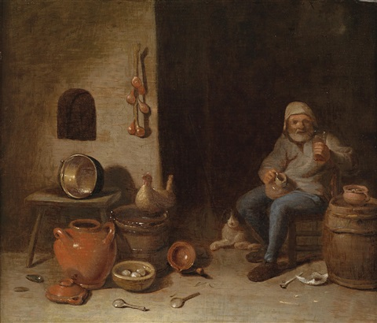 bäuerliches interieur mit einem trinkenden mann by egbert lievensz van der poel