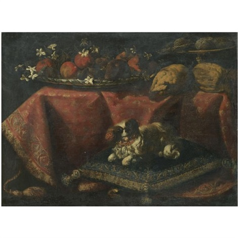 still life of fruit and flowers in a bowl, lemons and sugarbread in a tazza resting on a draped table, together with a spaniel resting on a pillow in the foreground by francesco fieravino (il maltese)