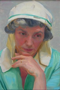 portrait of the artist's wife with a white head scarf by john bulloch souter