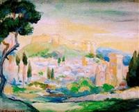 paisaje con pueblo by gustavo bacarisas