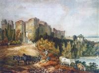 figures and cattle by chepstow castle by samuel alken sr.
