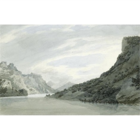 on the arve near sallanches in savoy by john robert cozens