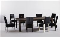 dining table (+ chairs (set of 8); 9 works) by roy mcmakin