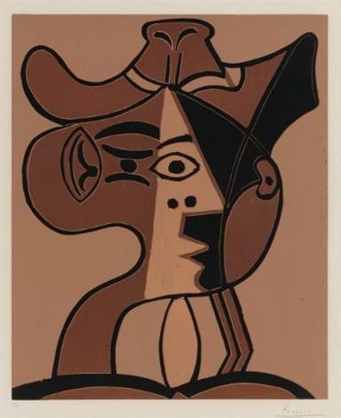 grande tête de femme au chapeau by pablo picasso
