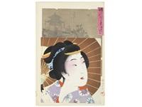 jidai kagami (mirror of the ages) (set of 50, oban tate-e) by toyohara chikanobu