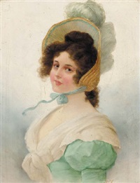 portrait of a young lady wearing a feathered straw bonnet and a green dress by richard kratky
