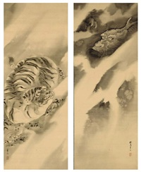 tiger and dragon (diptych) by kishi ganryo