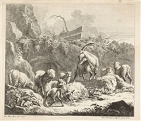 wie das wild-schwein gehaezt und ihm der fang gegeben wird (+ felslandschaft mit ziegen und schafen, 1729, smllr; 2 works) by johann elias ridinger