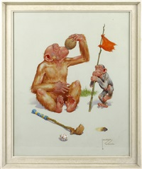 two monkeys drinking from a coconut by lawson wood