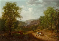 wooded landscape with travellers on a path, a herdsman and cattle in the foreground, waterfall beyond by louis gadbois