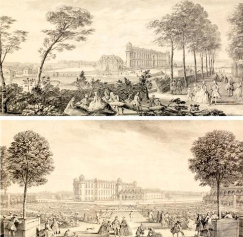 vue du château de chantilly et le jardin et lorangerie du château de chantilly 2 works by jacques rigaud