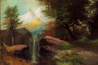 western american mountainscape with waterfall at sunset by j. hart