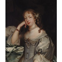portrait of a lady in a pearl necklace, said to be barbara villiers, countess of castlemaine and dutchess of cleveland by sir peter lely