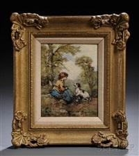 bucolic figural landscape by emile lessore